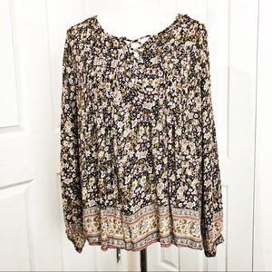 Lucky Brand Floral Lace-Up Boho Blouse